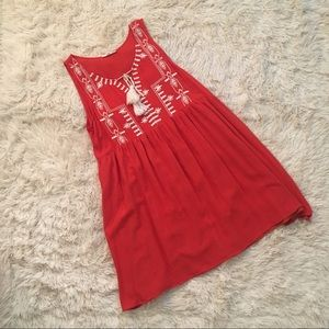 Entro Rust Embroidered Dress